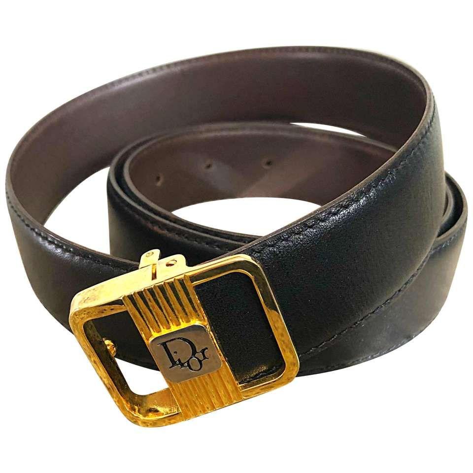 Men S Vintage Christian Dior 70s Reversible Black Brown Large Xl 1970s Belt Vintage Men Brown Leather Belt Black And Brown