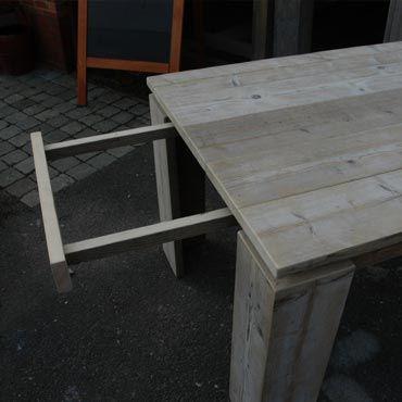 Tafel Steigerhout Uitschuifbaar.Verlengbare Tafel In Oud Steigerhout Meubelen