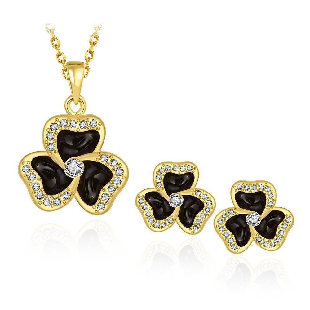 S485 Clover Pattern Plated Necklace Earrings Stud Fashion Women ...