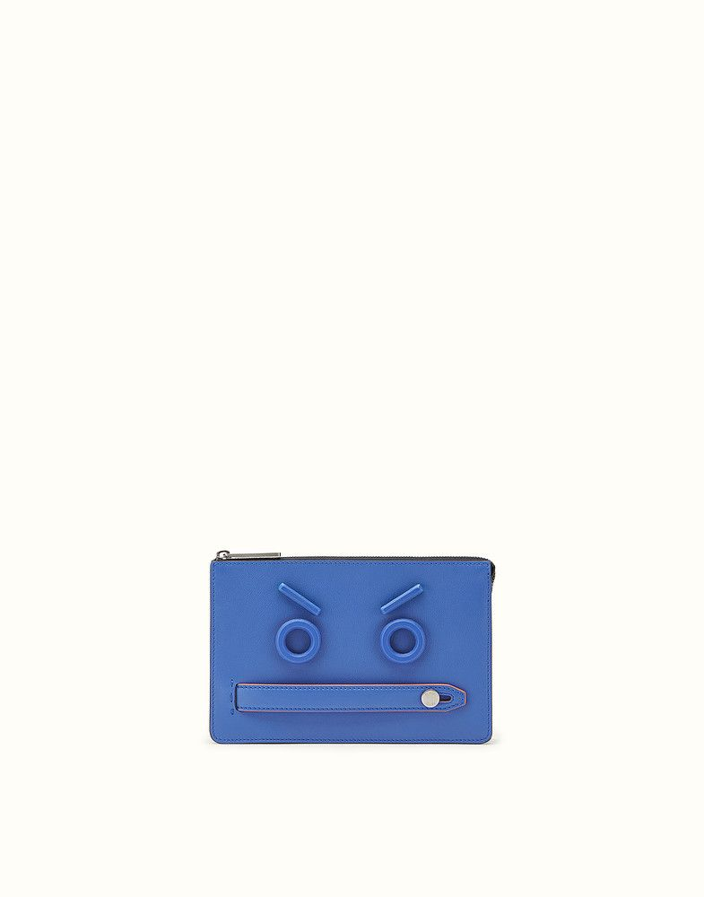 FENDI POUCH - Pochette in pelle blu elettrico