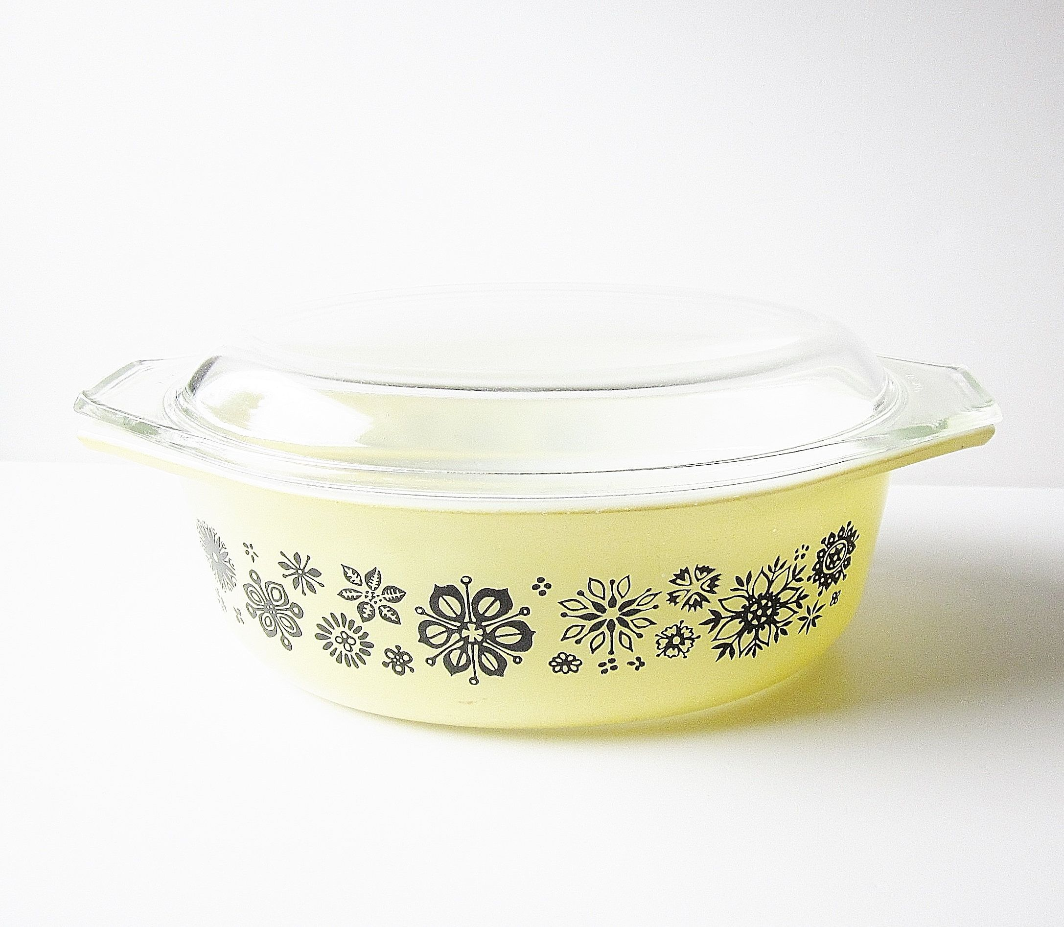 Pyrex #043 Yellow With Black Pressed Flowers Oval Casserole Dish ...