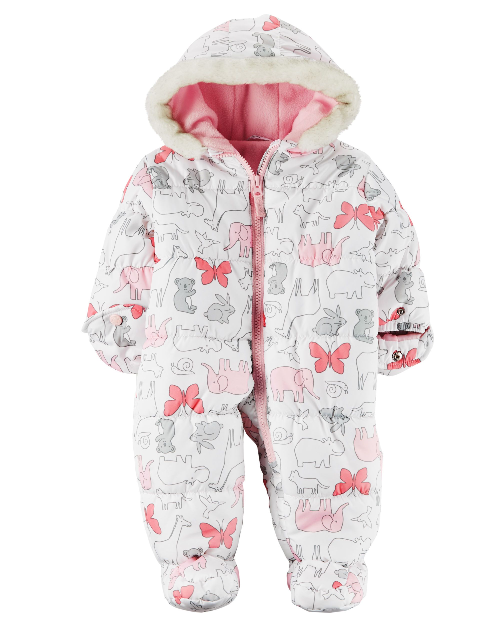 New Carter/'s Winter Pram Snowsuit Light Pink size 6m NWT Bear Ears on Hood