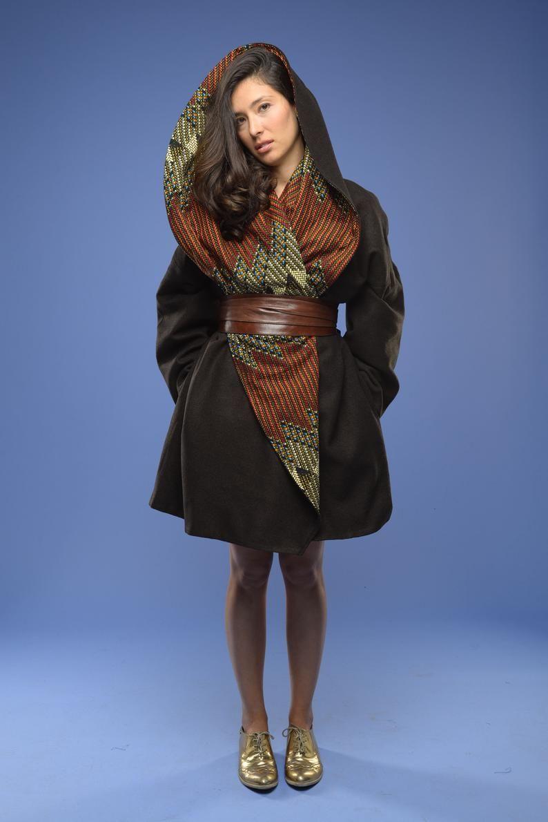 Winter coat  Wool coat womens coat Jacket Ankara jacket Ankara Coat African print coat Trench coat Winter warmer Choco Earth tones
