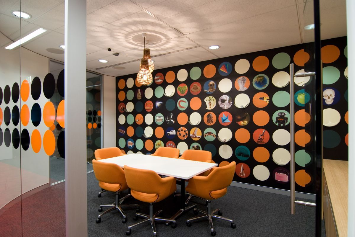 Office Workspace Cool Office Interior Designs With Orange Color