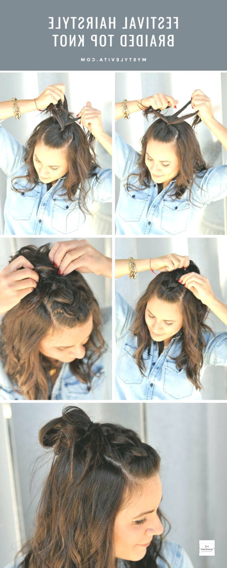 Braided Top Knot – Festival Hair Style #braidedtopknots Braided Top Knot – Festi…