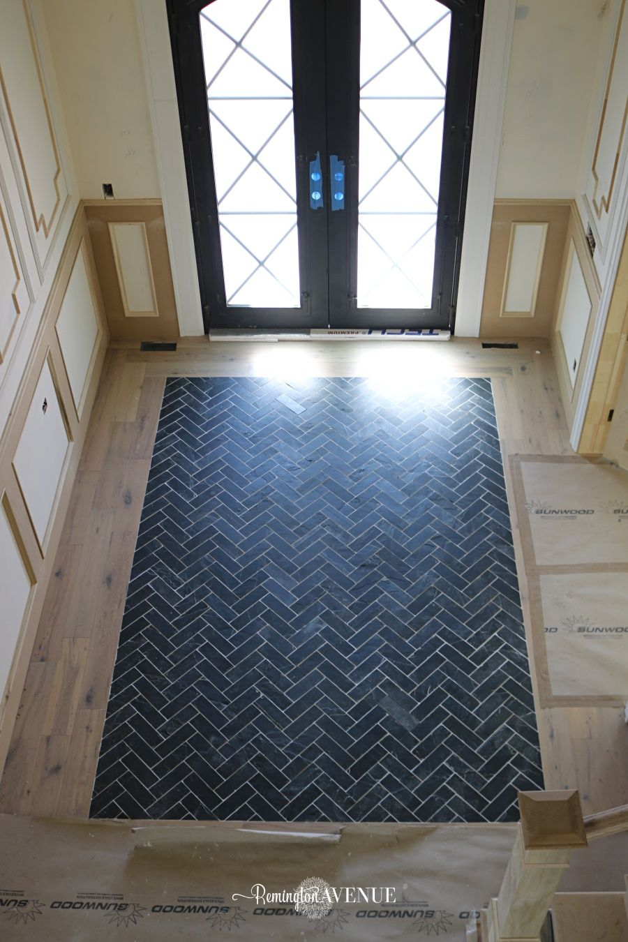 Slate Herringbone Entry Way- A timeless and durable design ...