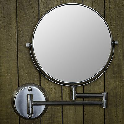 Hotel Quality Nickel 8 Wall Mount Swing Arm 2 Sided Magnifying Mirror 1 7x Magnifying Mirror Wall Mounted Makeup Mirror Lighted Wall Mirror