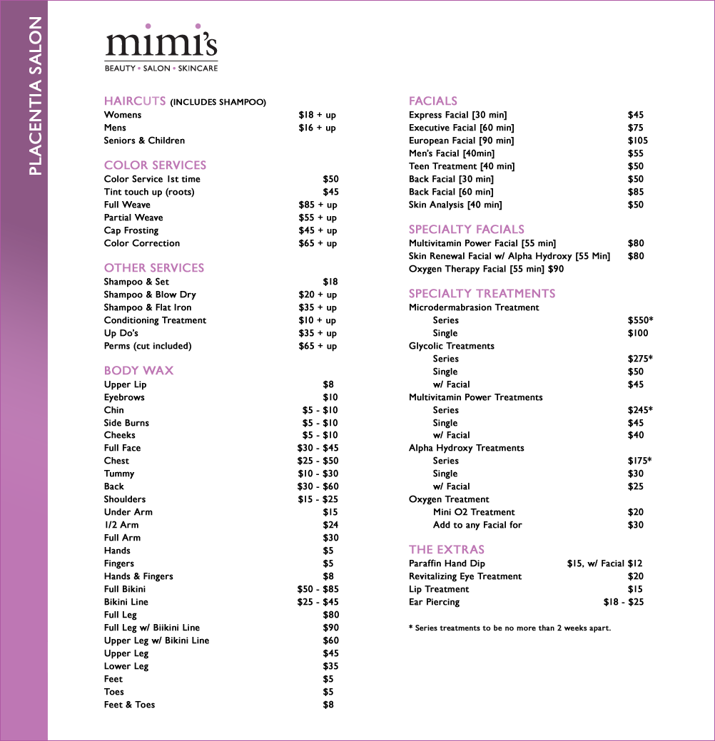 Salon Price List- idea A good guide to start with  | Hair
