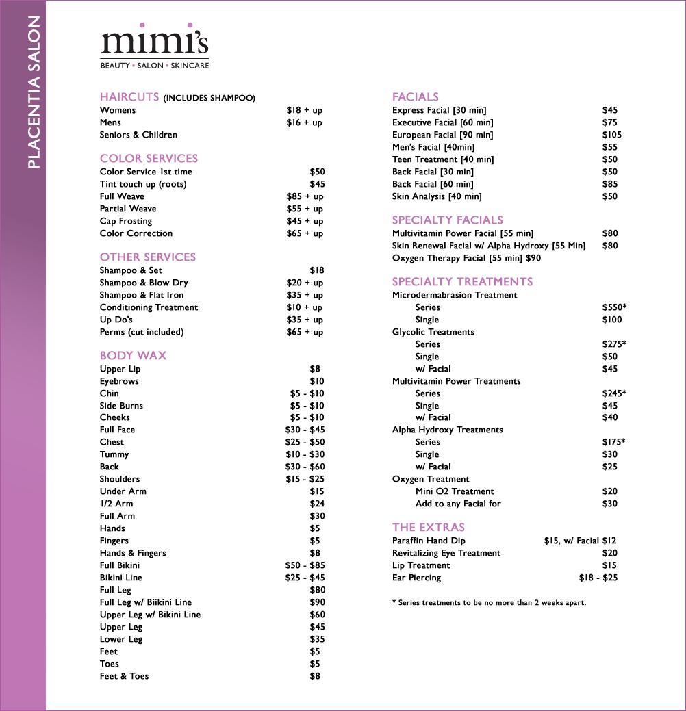 Placentia Mimi S Beauty Salon Price List Nail Salon Prices Salons