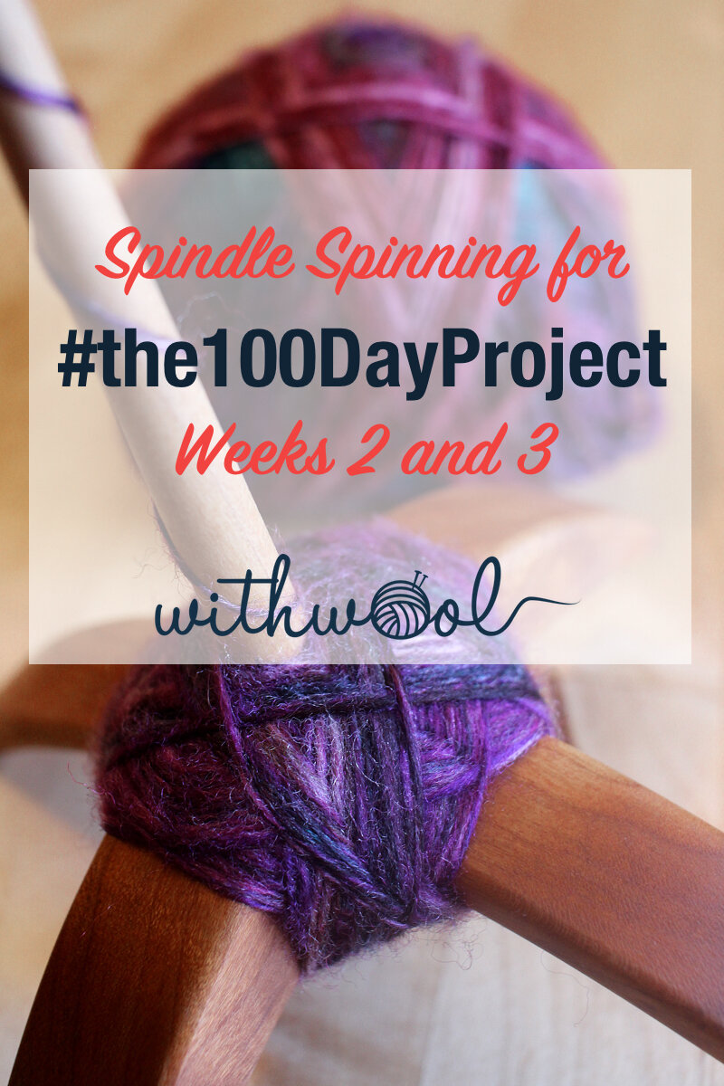 Follow along with me as I spin yarn on a spindle for #the100DayProject! Weeks 2 and 3 were slow going, but I still managed to finish spinning the first single and start the second for a 2-ply yarn.   #handspunyarn #spindlespinning #turkishspindle #makingyarn #polworth #handdyedfiber