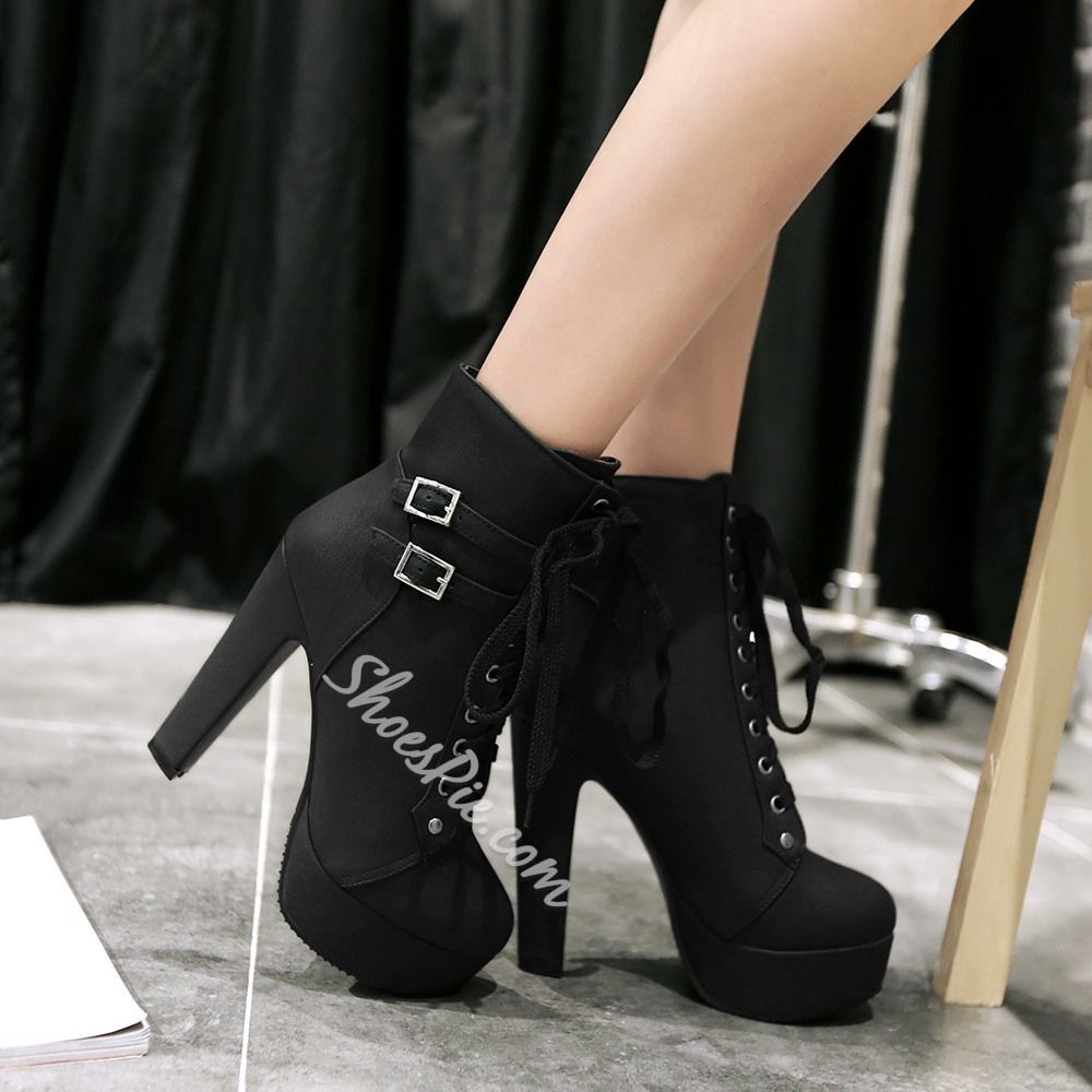 Women's Sweet Solid Waterproof Fully Fur Lined Floral Lace Up Zipper Chunky High Heel Platform Short Ankle Boots