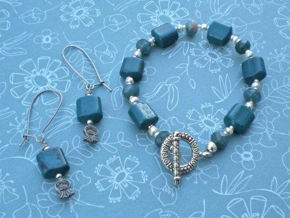 Bracelet & Earrings Set  Deep by DebLuvs on Etsy, $40.00