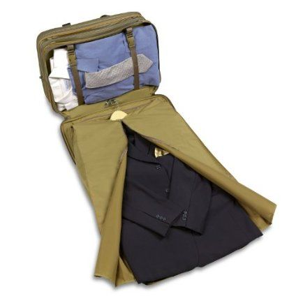 Hartmann Packcloth Ultimate Carry On Boarding Bag Rear section includes double restraining straps to hold clothes securely and snap in/out garment sleeve for additional packing and organization.