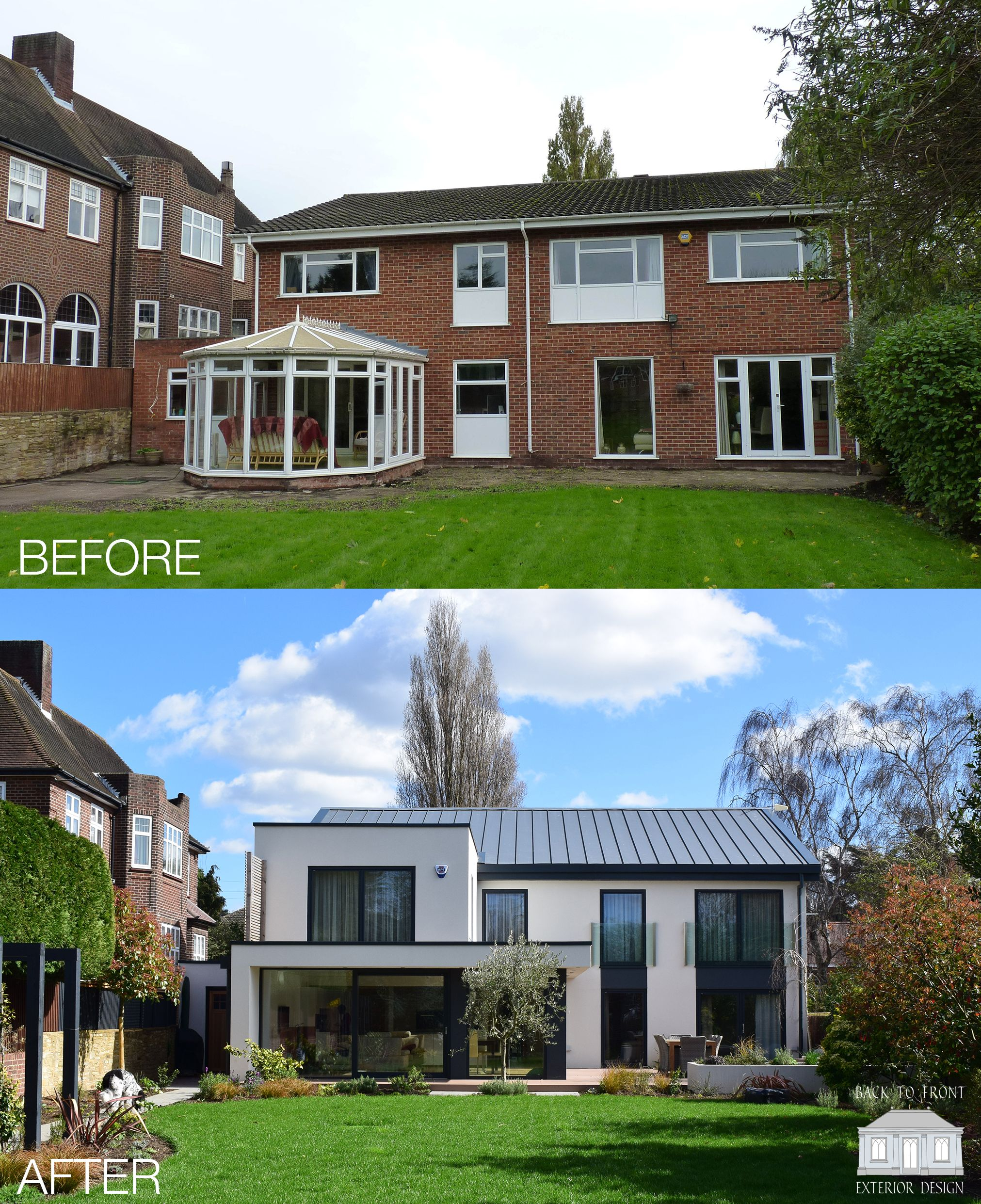 Modern Homes Front And Back: 1960's Remodelling Project With A Contemporary Style By