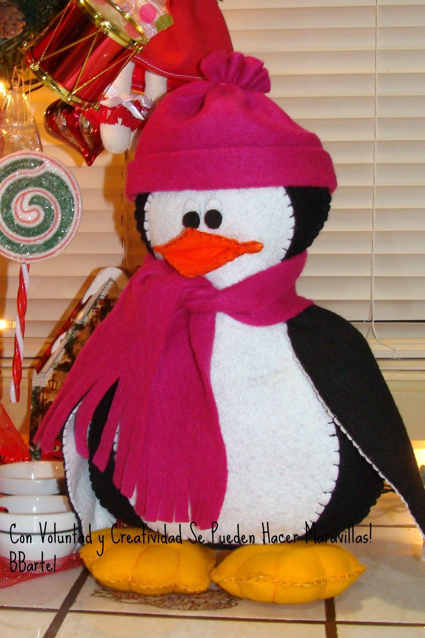 Diy pinguinito en fieltro adorno navide o bbarte1 for Navidad adornos manualidades navidenas