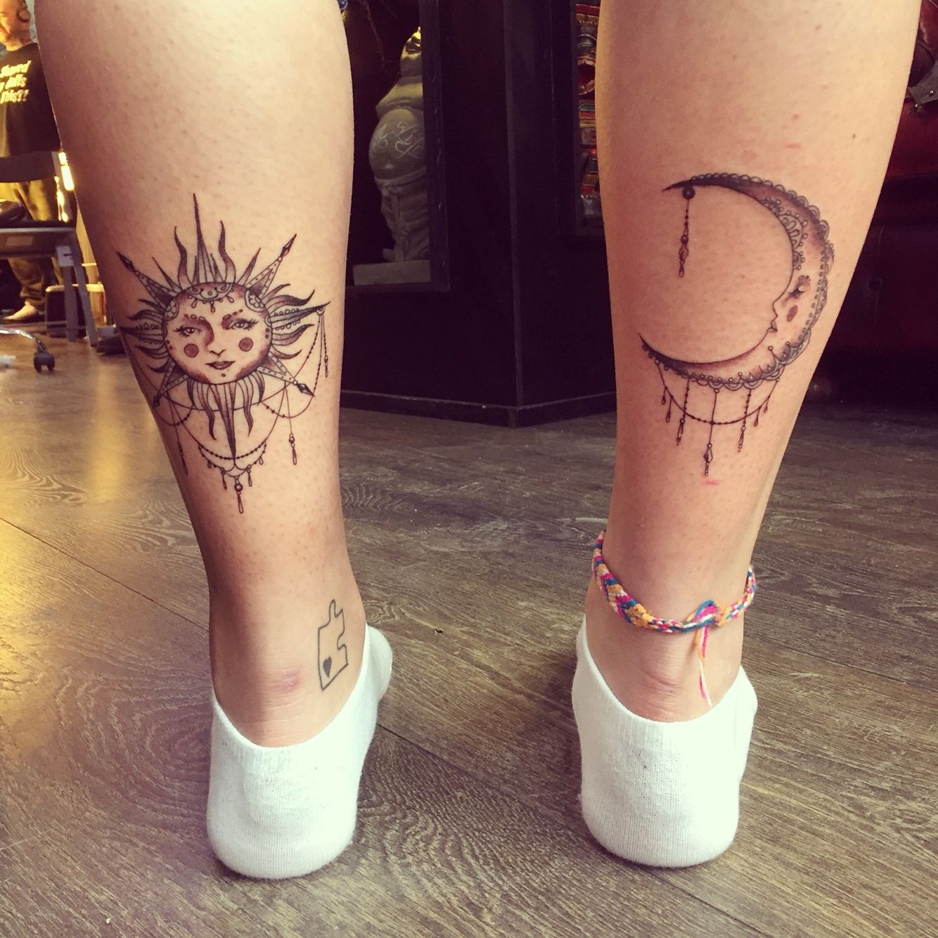 Bohemian sun and moon calf tattoos. Ink for girls. Cute tattoo.
