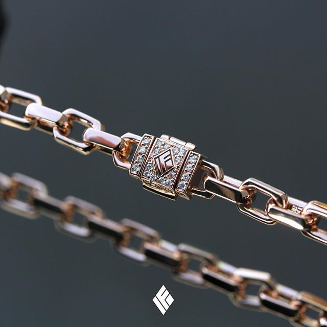 754dfa40c Solid 18K Rose Gold 4mm Hermes Link Bracelet With Diamond IF Clasp. Custom  made to order 💎 #HermesLink #CustomJewelry #IFANDCO