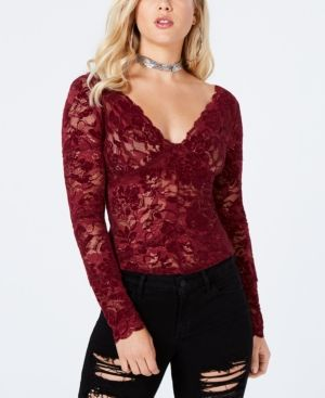 ffd1ce1118f75a Guess Drea Long-Sleeve Lace Top - Red XS