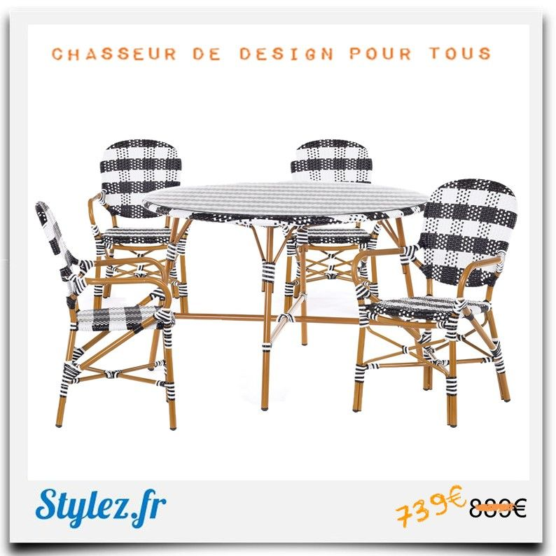 Pack Bistrot Type Gatti En 2020 Chaise Bar Chaise Noire Table Terrasse