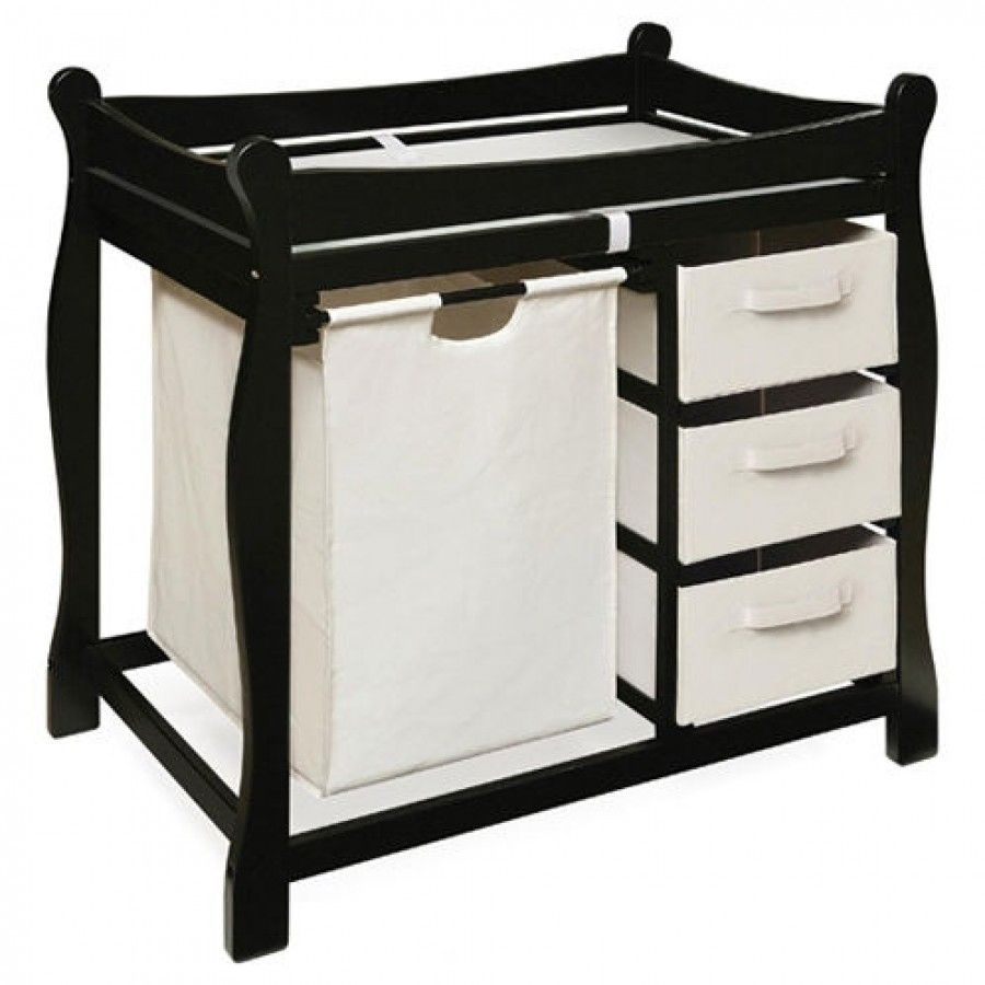 Badger basket black sleigh style changing table with hamper and