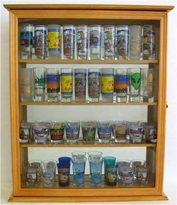 Tall Shot Glass Shooter Display Case With Glass Door Mirror Back