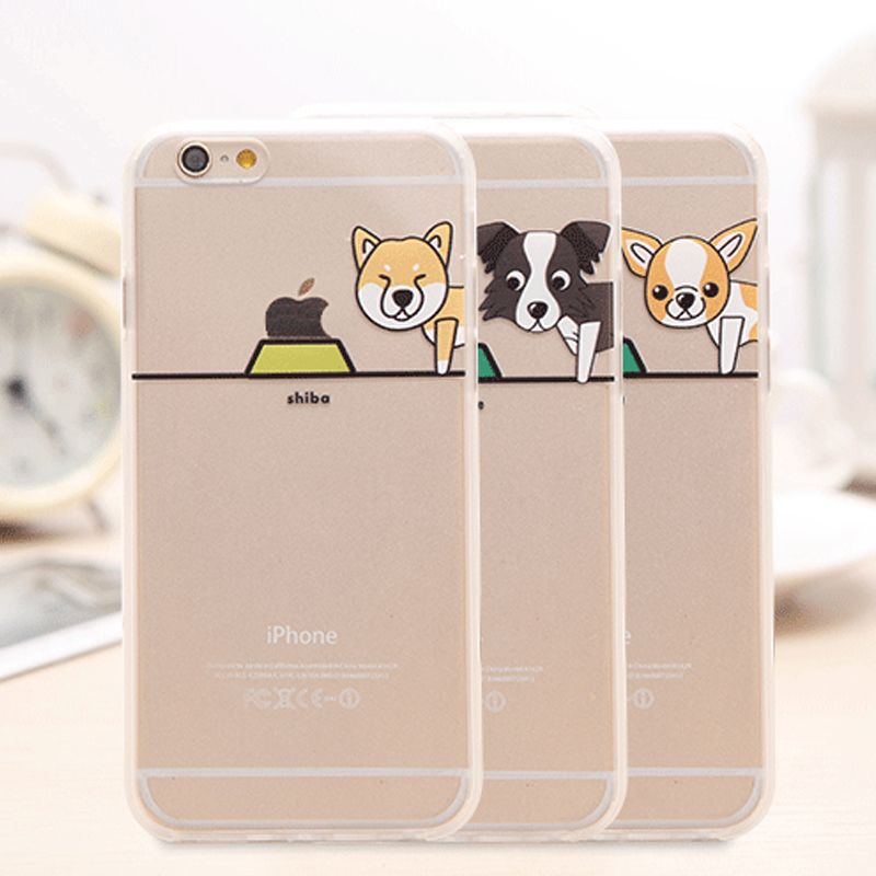 Cartoon Hond Soft Clear Transparante Achterkant Herder Poedel Pug Labrador Case Cover Apple iPhone5 5 s 6 6 s 6 plus telefoon Case