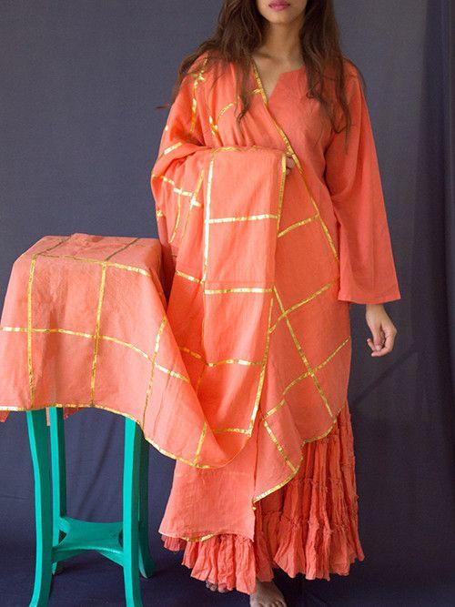 97e331379c Peach Cotton Gota Work Dupatta | Vastras I | Indian attire, Sharara ...