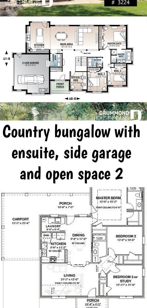 Comfortable 3 to 4 bedroom Ranch bungalow house plan for corner lot 9 ceiling large kitchen island covered rear balcony Picture 2 of 3 House plans 75x85m with 2 bedrooms...