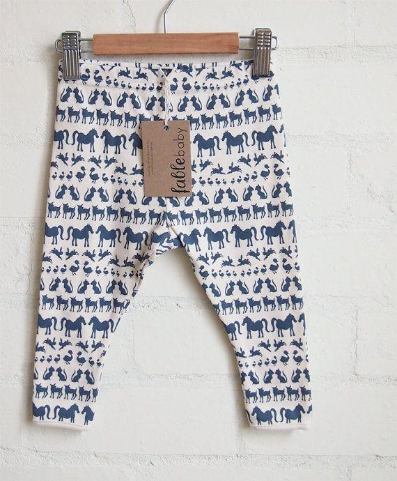 Hand Printed Organic Cotton Leggings - Navy Animals on Cream