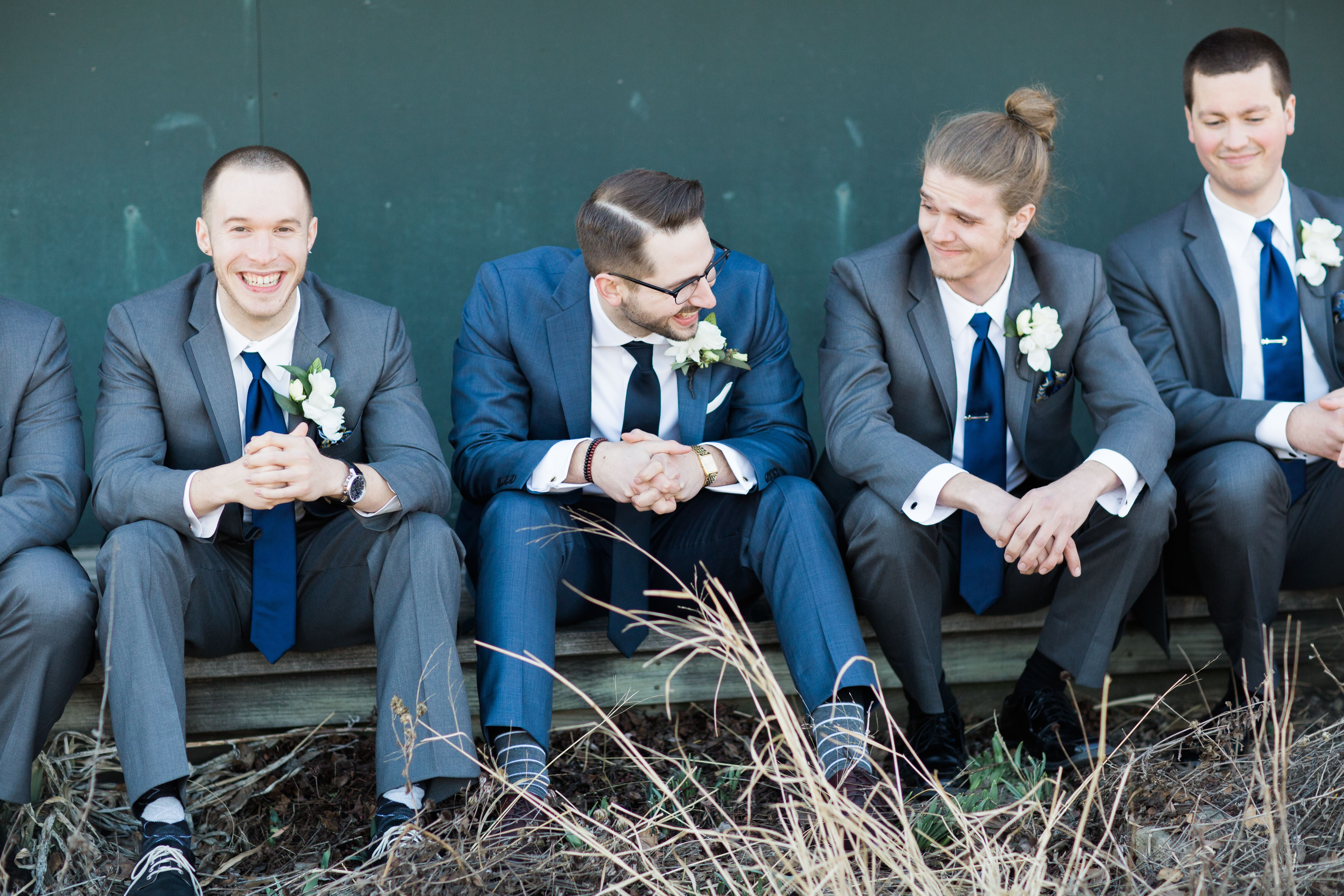 Groomsmen in Navy Blue Vera Wang Suits | Suits for Guys | Pinterest ...