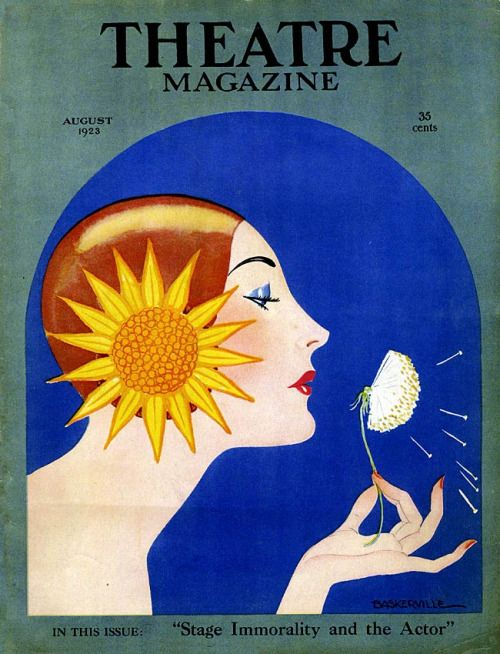 August 1923 Art Deco Cover of Theatre Magazine. Illustration by Baskerville.