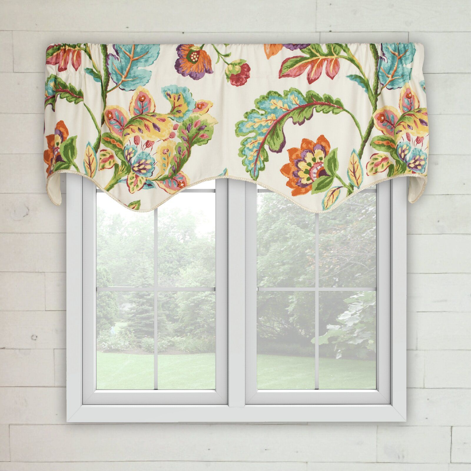 "Charlton Home Karson Modernism Lined Scallop 5"" Window Valance"