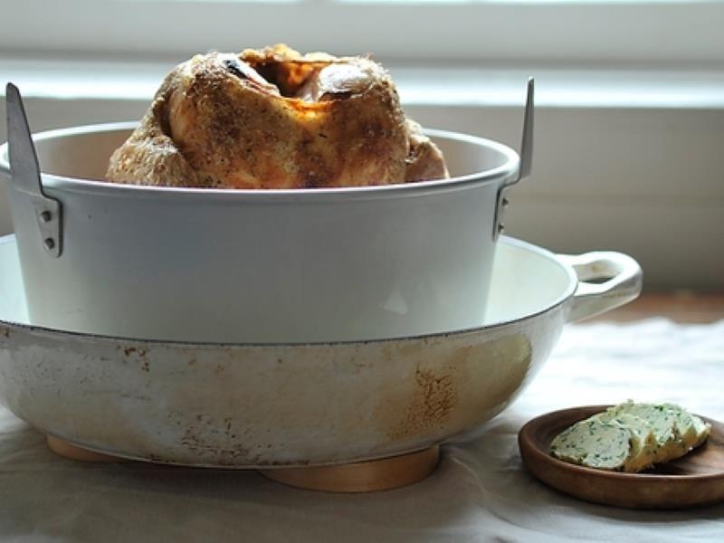 Wishbone Roast Chicken with Herb Butter