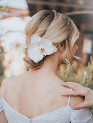 Carys Orchid Bridal Hair Flower #bridalhairflowers