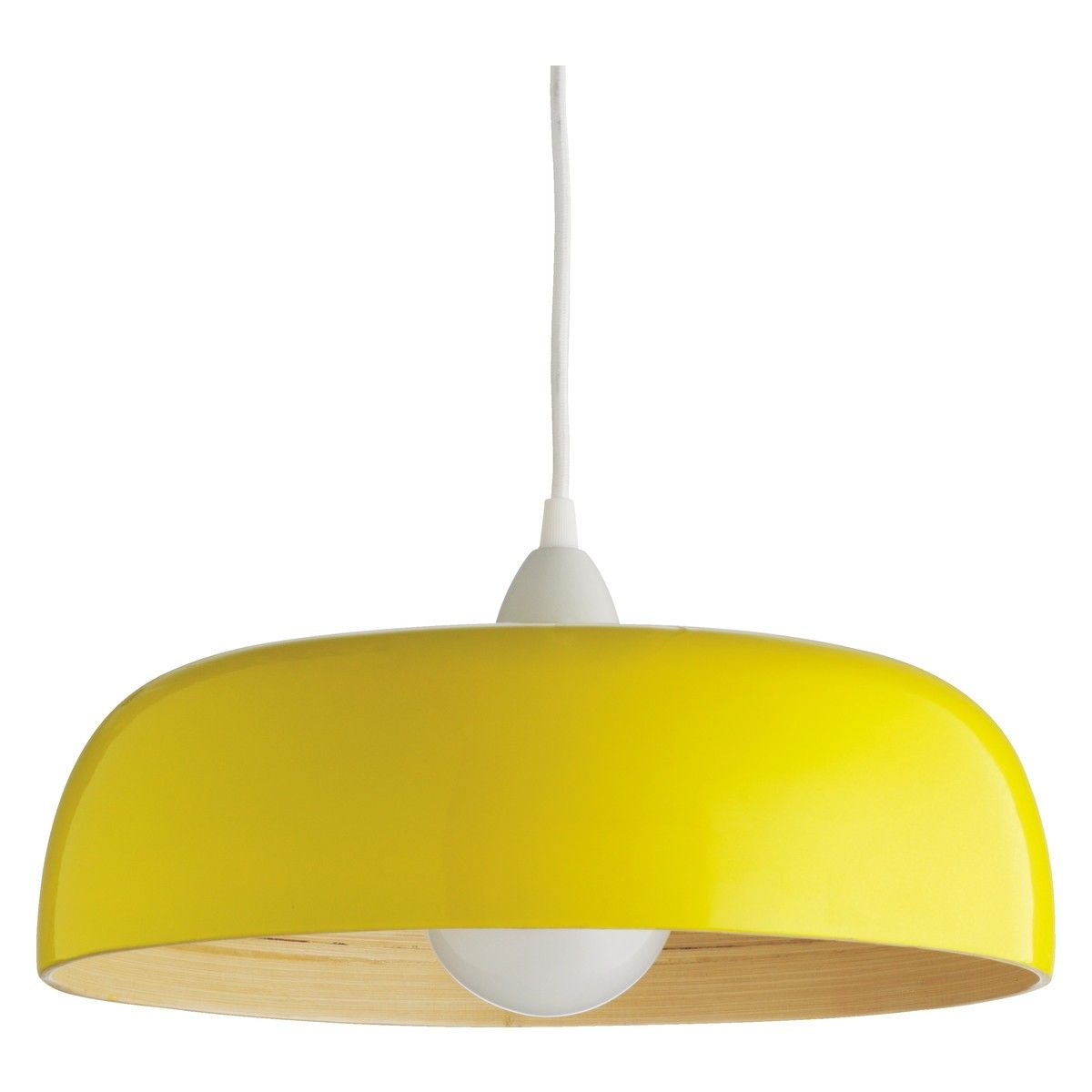 MOXLEY Yellow lacquered spunbamboo ceiling light shade Saffron