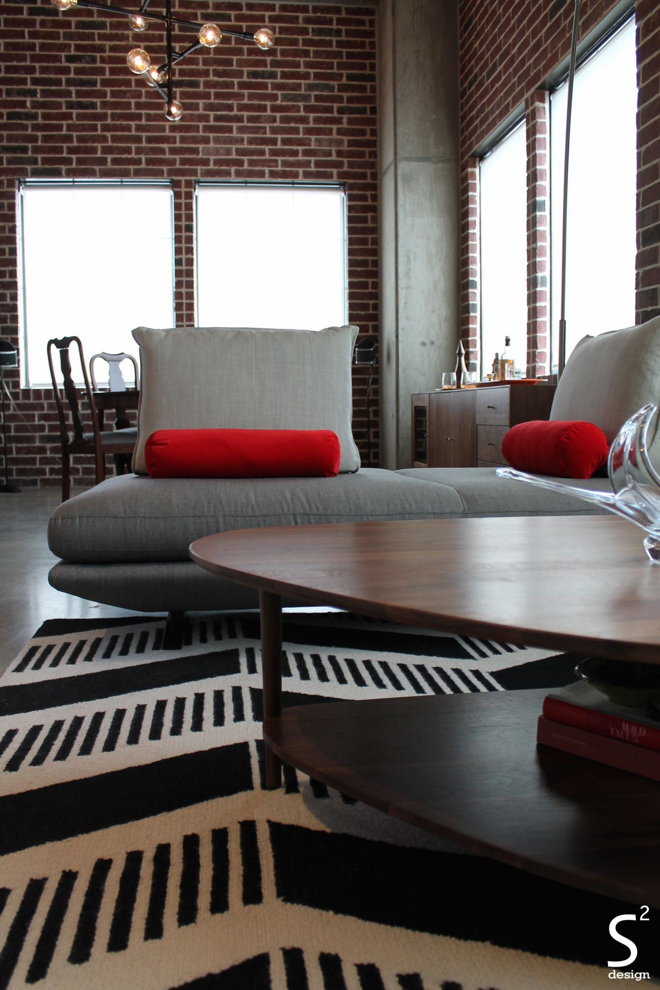 Best Loft Modern Living Room Exposed Brick Wall Black White Red 400 x 300