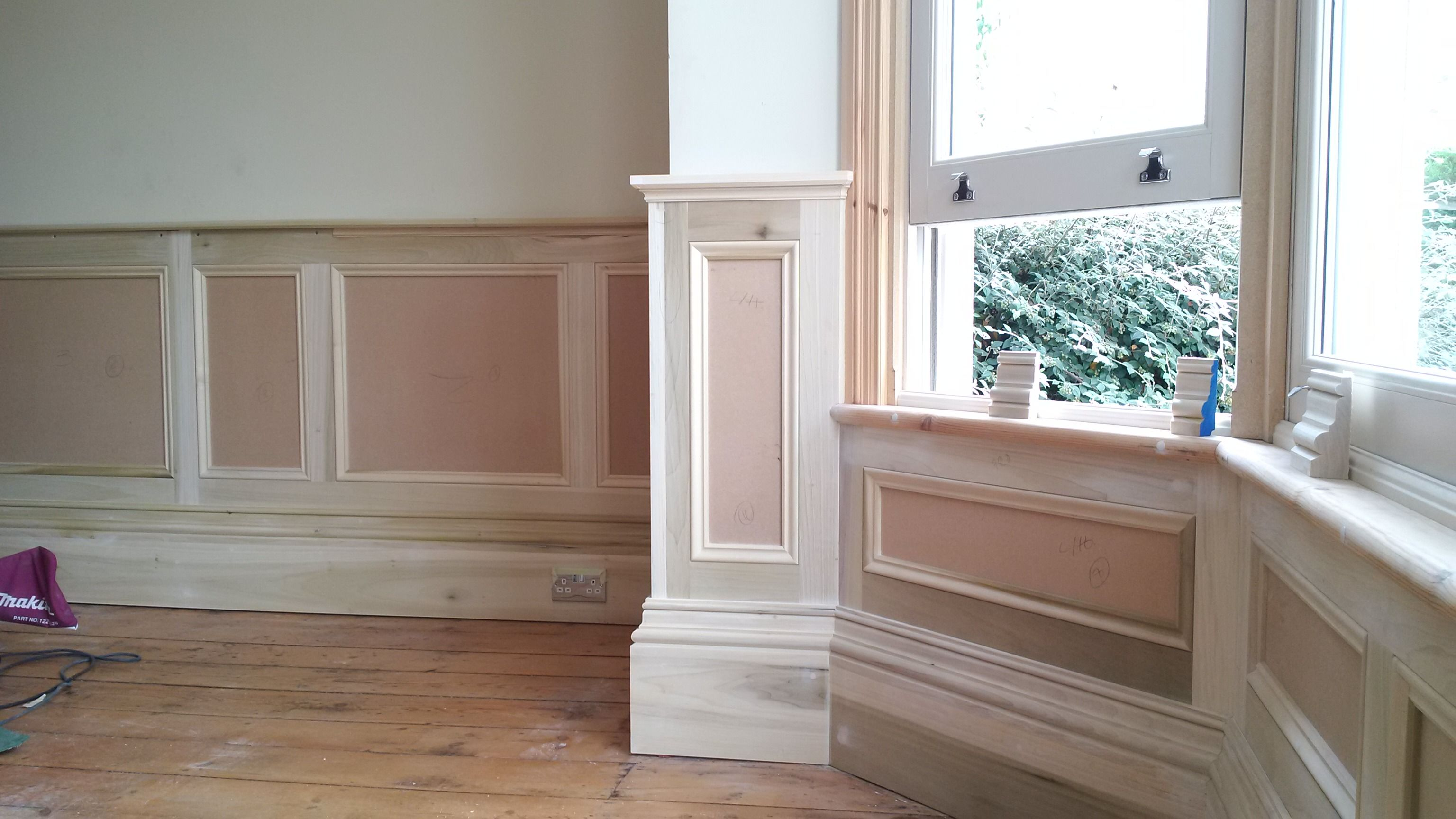 New Bay Window Panels And Wainscoting To Match Around The Rest Of The Rooms Wainscoting Bay Window Diy Wainscoting