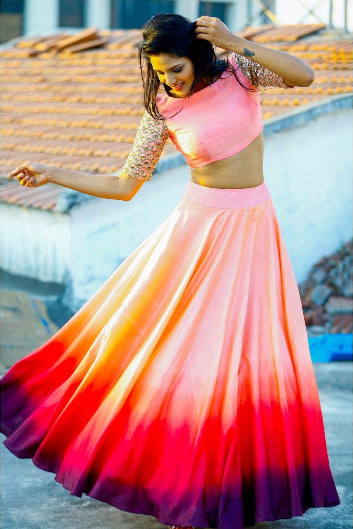 Taffeta and silk party wear crop top lehenga in multicolour colour