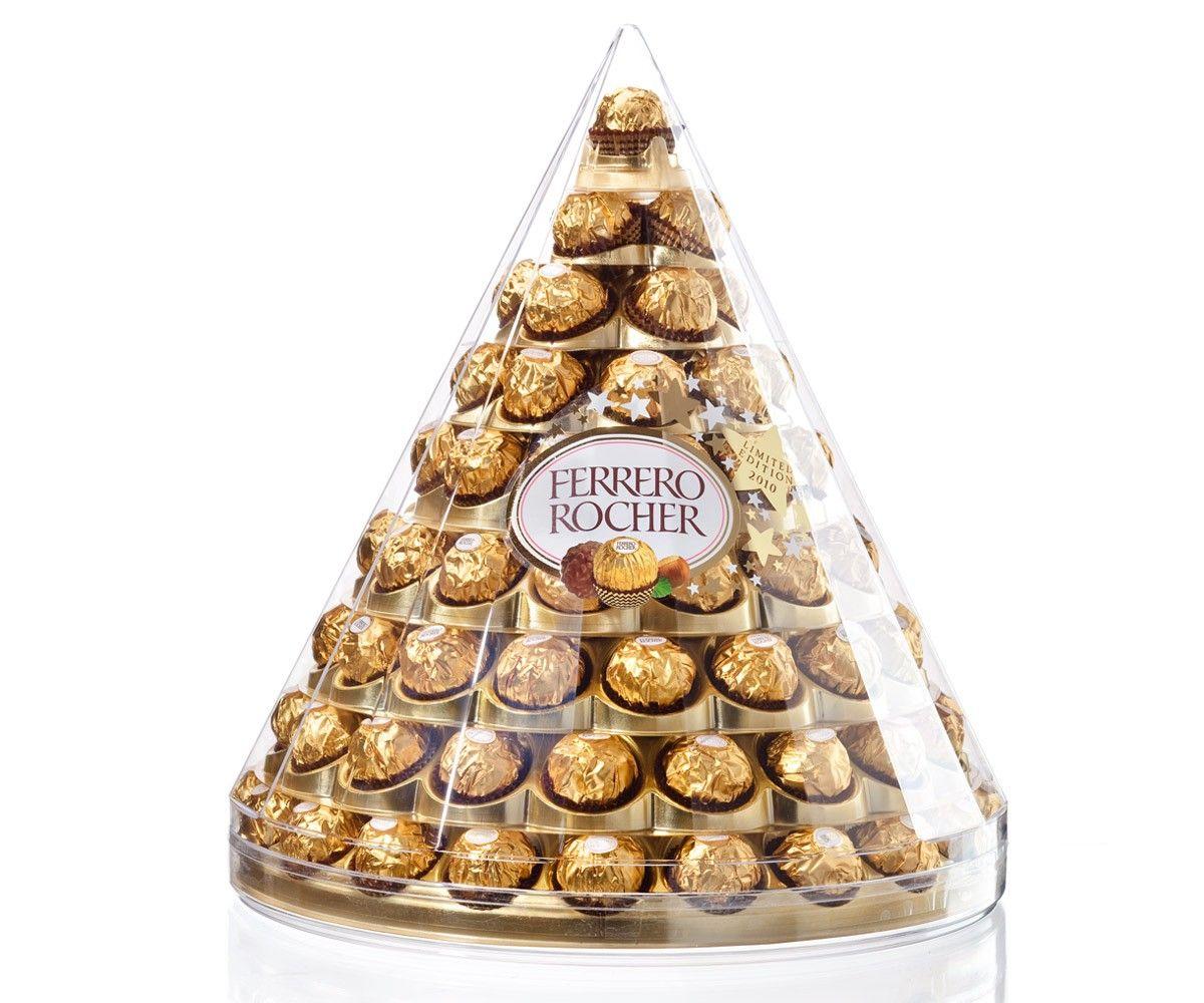 3e exemple de packaging secondaire   la fameuse pyramide  propre au produit ferrero rocher qui