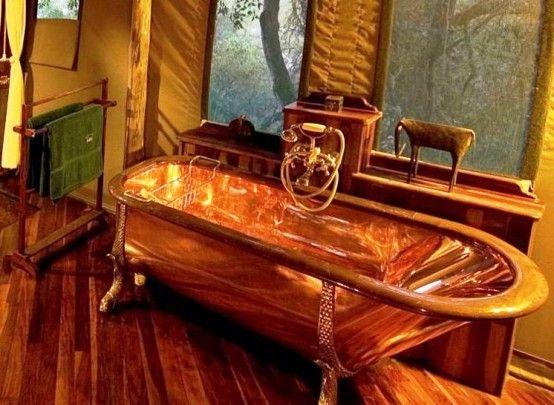 Bathroom Captivating Luxurious Antique Copper Bathtub