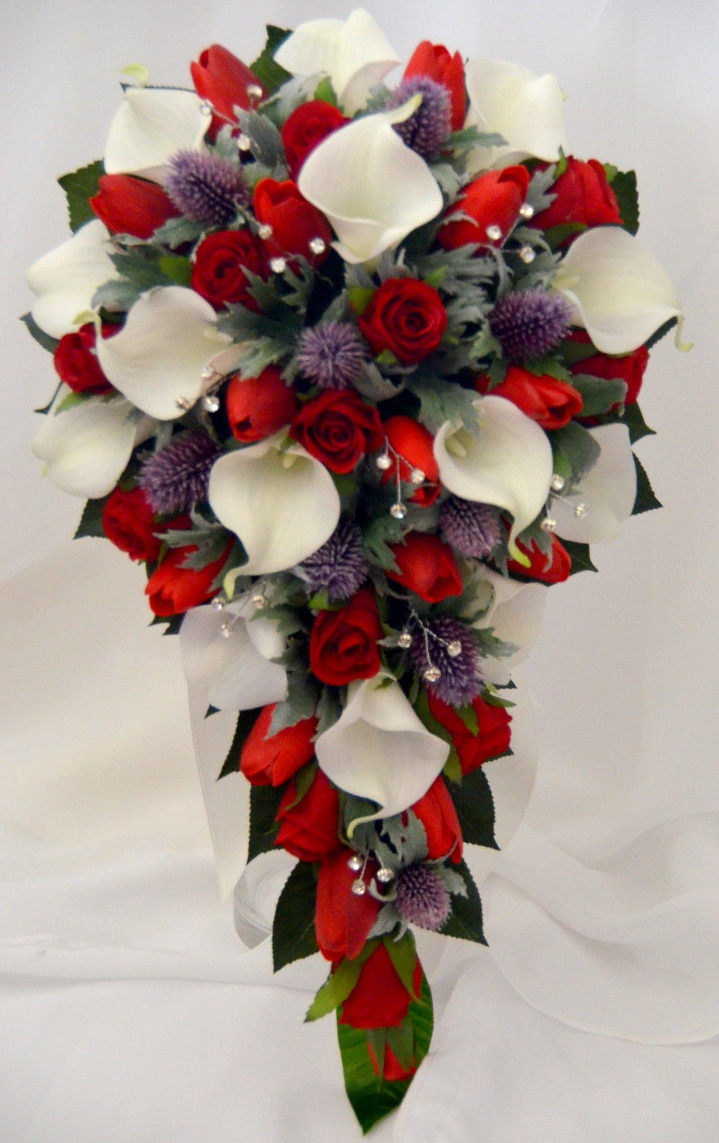 White Calla Lily Red Rose Thistle Teardrop Bouquet Lily