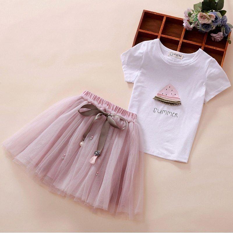Children's Clothing Toddler Girls Sets Cartoon Printed Baby Girl Tops +Skirt  Sets F… | Ropa para niñas fashion, Vestidos para niñas, Vestidos bonitos  para niña