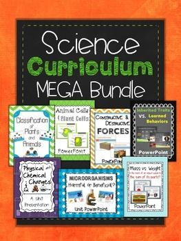 EDITABLE!!!  This Science Bundle contains 7 Unit Presentations all covering various topics:  Classification of Plants and Animals Plant and Animal Cells Beneficial and Harmful Microorganisms Constructive and Destructive Forces Inherited Traits and Learned Behaviors Physical and Chemical Changes Does an objects Mass equal the sum of its parts?I have compiled ALL of my Science Resources into one package deal at a discounted price.