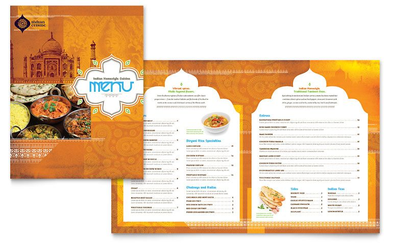 Indian Restaurant - Menu Template Design Restaurant Menu Designs - menu template for word