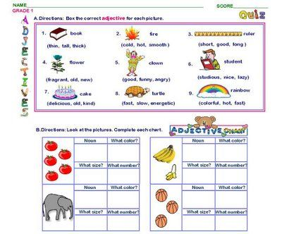 pictures Adjectives for kids, Adjective worksheet