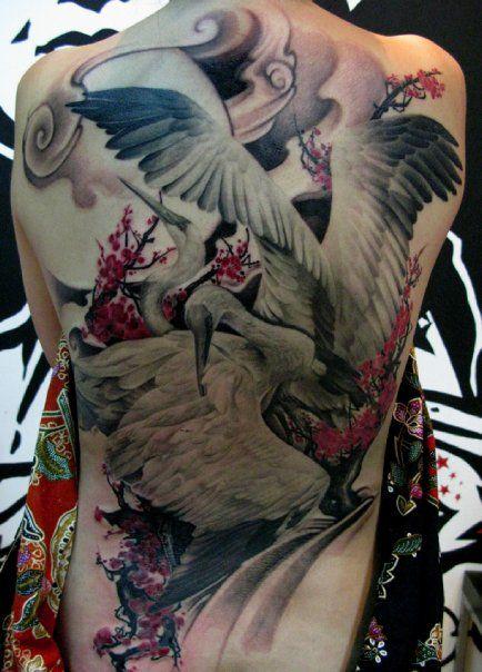 Japanese Cranes Back Tattoo In Progress
