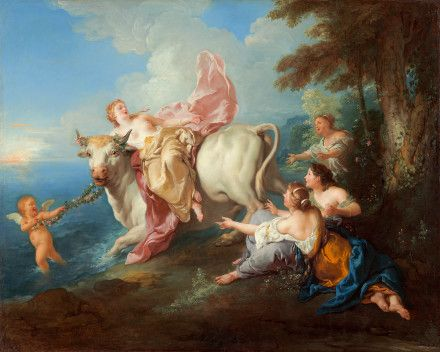 1716: The Abduction of Europa by Jean Francois de Troy  This painting is an example of rococo style artwork. The use of pastels with light and feminine brush strokes are key identifiers of pieces from this era. The subjects of this painting are filled with emotion while exuding grace in a heavenly setting.