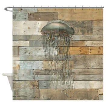 Vintage Jellyfish Rustic Modern Shower Curtain Coastal Vintage