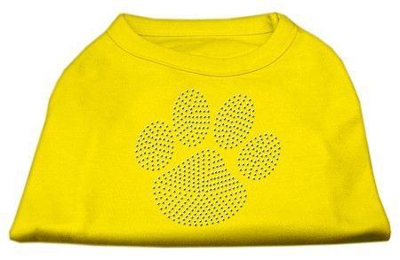 Clear Rhinestone Paw Shirts Yellow XS (8)