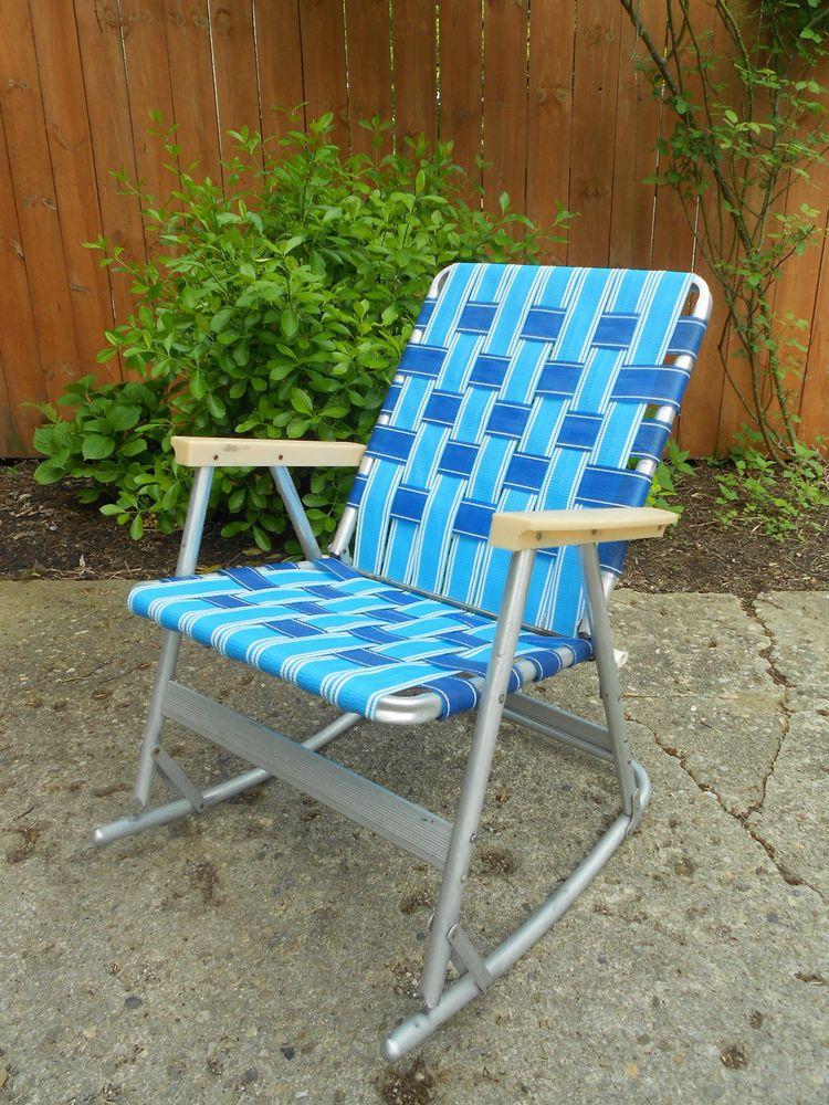 Retro Aluminum Patio Furniture vintage webbed tubular aluminum rocker rocking lawn chair patio 1